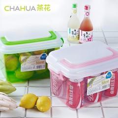 茶花收纳箱塑料小号透明有盖箱子玩具收纳整理箱手提储物箱 2个装