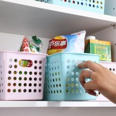 茶花 多彩加厚长方形圆点塑料收纳篮  超大号35.5*26.8cm