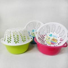 茶花厨房双层洗菜篮塑料水果盆沥水篮漏水果蔬筐洗菜盆滴水筛