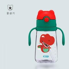 韩国杯具熊幼稚园儿童水杯防摔 幼儿园宝宝防漏防呛吸管杯学饮杯380ML