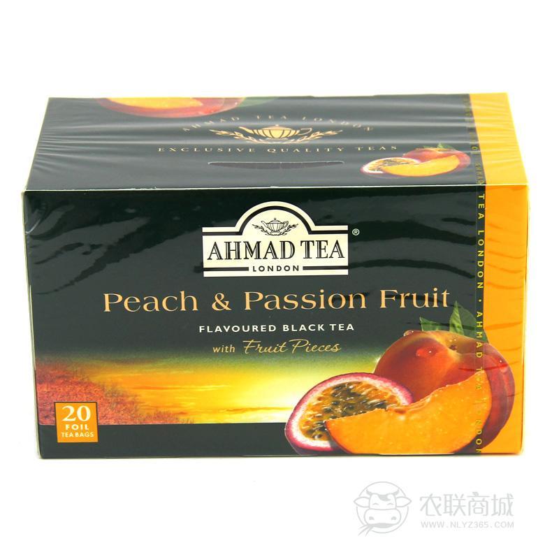 英国AHMADTEA亚曼水蜜桃百香果红茶40g/20包  袋泡茶  包邮